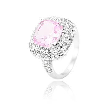 Anel Folheado Ródio com Micro Zircônia Cristal e Cristal Rosa Quadrado