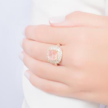 Anel Folheado Ouro 18K com Micro Zircônia Cristal e Cristal Quadrado Morganita