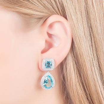 Brinco Folheado Ródio com Base Quadrada e Cristal Gota Aquamarine
