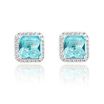 Brinco Quadrado Folheado Ródio com Micro Zircônia Cristal e Cristal Aquamarine