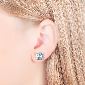 Brinco Quadrado Folheado Ródio Negro com Micro Zircônia Cristal e Cristal Aquamarine