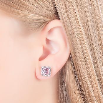 Brinco Quadrado Folheado Ródio Negro com Micro Zircônia Cristal e Cristal Rosa