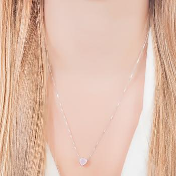 Conjunto Coração Folheado Ródio com Cristal Rosa Leitoso