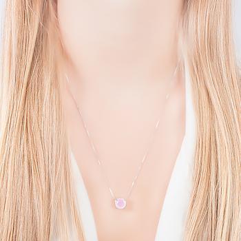 Conjunto Redondo Folheado Ródio com Cristal Rosa Leitoso