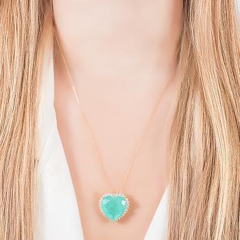 Colar Folheado Ouro 18K com Coração Pedra Fusion Premium Turmalina Verde e Micro Zircônia Cristal