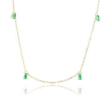 Colar Folheado Ouro 18K com Gotas Cristal Turmalina Verde