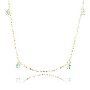 Colar Folheado Ouro 18K com Gotas Cristal Aquamarine