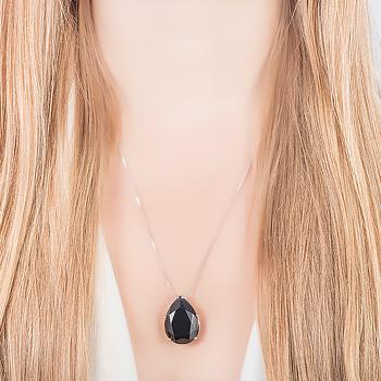 Conjunto Gota Grande Folheado Ródio com Cristal Negro