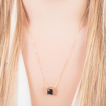 Conjunto Quadrado Folheado Ouro 18K com Cristal Negro