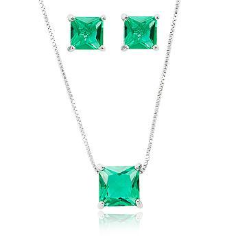 Conjunto Quadrado Folheado Ródio com Cristal Turmalina Verde