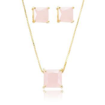 Conjunto Quadrado Folheado Ouro 18K com Cristal Rosa Leitoso