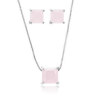 Conjunto Quadrado Folheado Ródio com Cristal Rosa Leitoso
