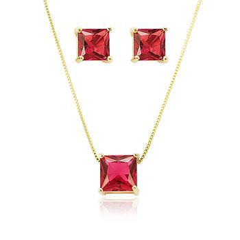 Conjunto Quadrado Folheado Ouro 18K com Cristal Pink
