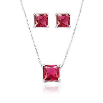 Conjunto Quadrado Folheado Ródio com Cristal Pink
