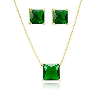Conjunto Quadrado Folheado Ouro 18K com Cristal Esmeralda