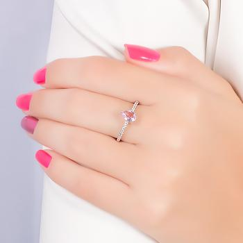 Anel Micro Zircônia Folheado Ródio com Gota Cristal Rosa