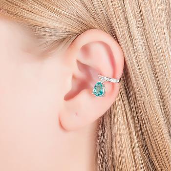 Piercing Fake Micro Zircônia Folheado Ródio com Gota Cristal Turmalina Verde