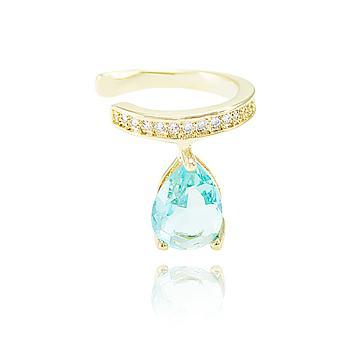 Piercing Fake Micro Zircônia Folheado Ouro 18K com Gota Cristal Aquamarine