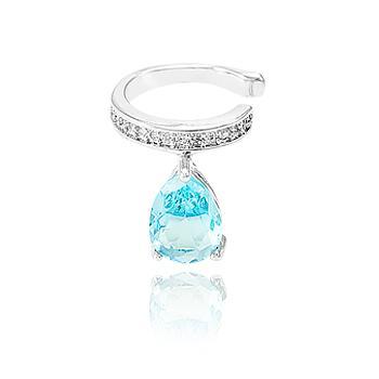 Piercing Fake Micro Zircônia Folheado Ródio com Gota Cristal Aquamarine
