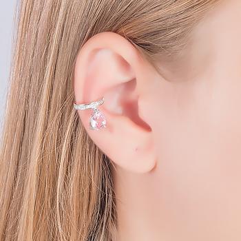 Piercing Fake Micro Zircônia Folheado Ródio com Gota Cristal Rosa