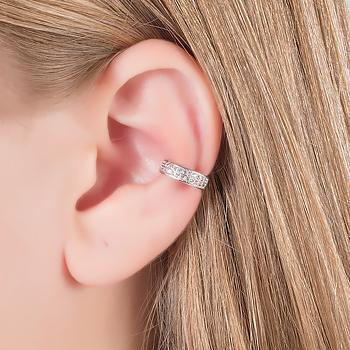 Piercing Fake Folheado Ródio com Detalhe de Micro Zircônia Cristal