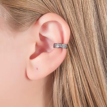 Piercing Fake Folheado Ródio Negro com Detalhe de Micro Zircônia Cristal