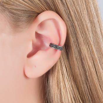 Piercing Fake Folheado Ródio Negro com Detalhe de Micro Zircônia Negra