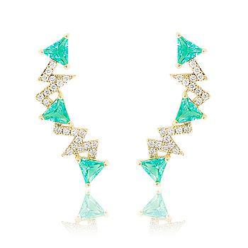 Brinco Ear Cuff Folheado Ouro 18K com Cristal Triangular Turmalina Verde e Micro Zircônia Cristal