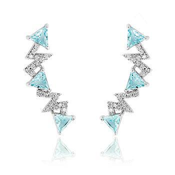 Brinco Ear Cuff Folheado Ródio com Cristal Triangular Turmalina Verde e Micro Zircônia Cristal