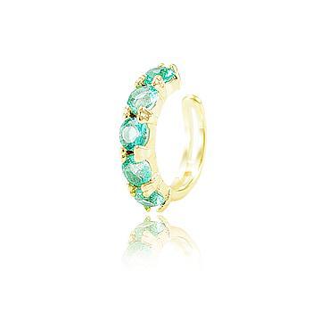 Piercing Fake Folheado Ouro 18K com Cristal Turmalina Verde CANDY COLORS