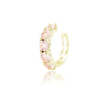Piercing Fake Folheado Ouro 18K com Cristal Turmalina Rosa CANDY COLORS