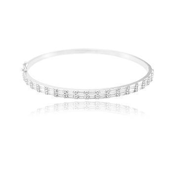 Bracelete Folheado Ródio com Zircônia Baguete Cristal