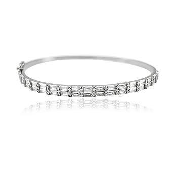 Bracelete Folheado Ródio Negro com Zircônia Baguete Cristal