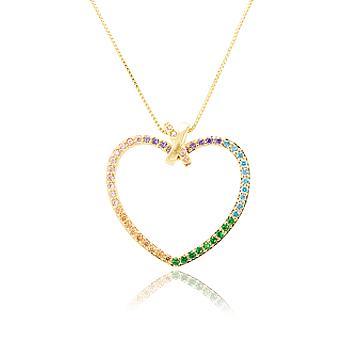 Colar Folheado Ouro 18K Coração com Micro Zircônia Colorida