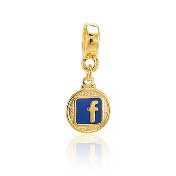Berloque Facebook Folheado Ouro 18K