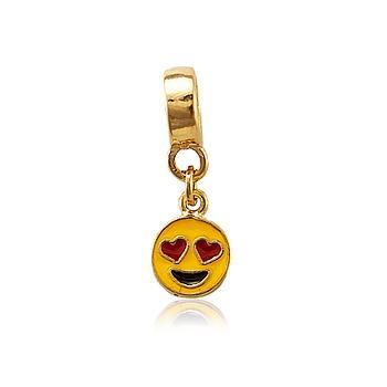 Berloque Emoji Apaixonado Folheado Ouro 18K
