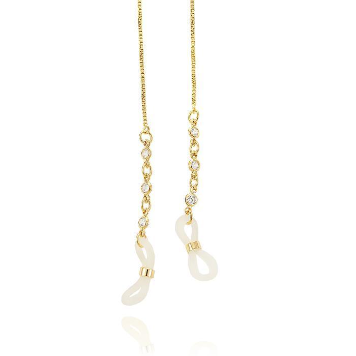 Sunglass Chain Folheada Ouro 18K com Zircônia Cristal