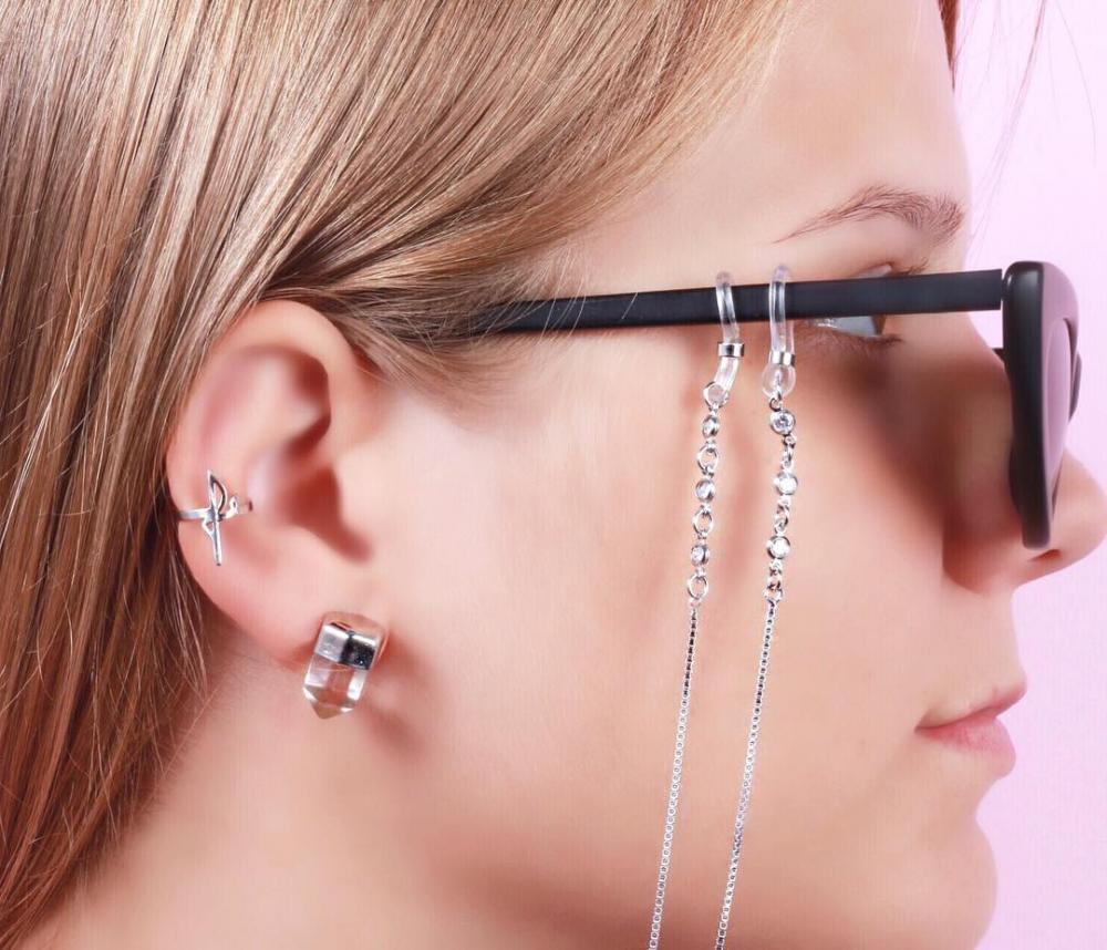 Sunglass Chain Folheada Ródio com Zircônia Cristal