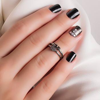Anel Falange Folheado Ródio Negro Love com Coração Micro Zircônia Cristal