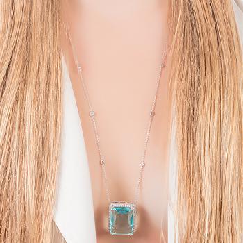 Conjunto Retângulo Folheado Ródio com Cristal Azul Claro e Micro Zircônia Cristal