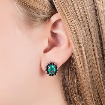 Brinco Oval Folheado Ródio Negro com Pedra Fusion Turmalina Verde e Micro Zircônia Negra