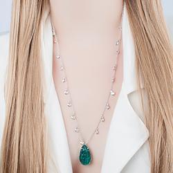 Colar Gota Folheado Ródio com Pedra Fusion Turmalina Verde e Corrente Tiffany