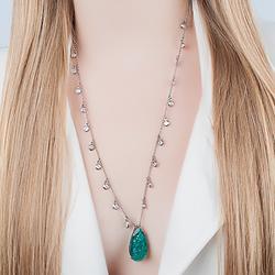 Colar Gota Folheado Ródio Negro com Pedra Fusion Turmalina Verde e Corrente Tiffany