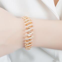 Conjunto Brinco Argola e Bracelete Folheado Ouro 18K com Micro Zircônia Cristal