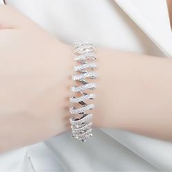 Conjunto Brinco Argola e Bracelete Folheado Ródio com Micro Zircônia Cristal