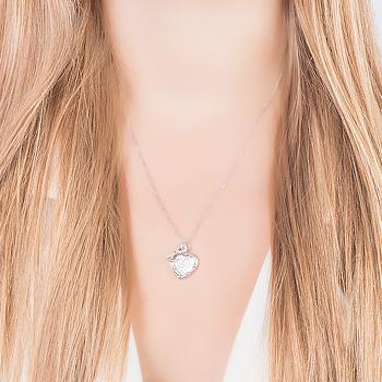 Colar Folheado Ródio Coração com Chave Inspired Tiffany