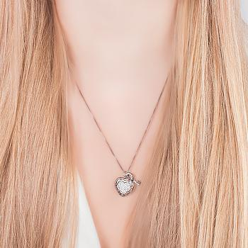 Colar Folheado Ródio Negro Coração com Chave Inspired Tiffany