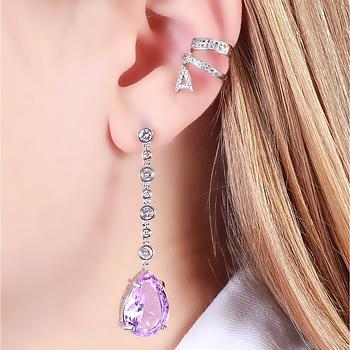 Brinco Zircônia Folheado Ródio com Gota Pendurada Cristal Violet