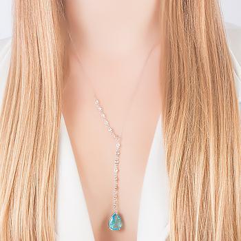 Colar Gravata Tiffany Folheado Ródio com Gota Cristal Aquamarine