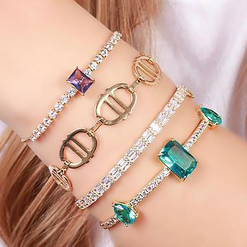Bracelete Folheado Ouro 18K com Zircônia Baguete Cristal